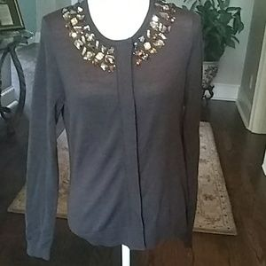 Tory Burch Brown Wool Embellished Sweater